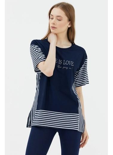 Sementa Çizgi Kombinli Nakış Detaylı Tshirt - Lacivert Lacivert